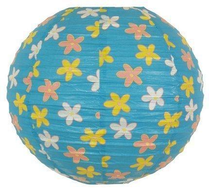 Abażur papierowy błękitny w kwiaty kula 35cm Kokon Candellux 70-96930