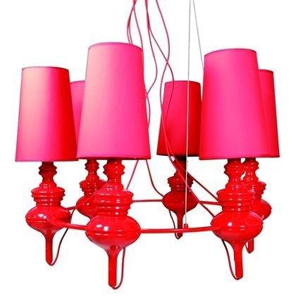 Lampa wisząca czerwona regulowana żyrandol 6x40W Decoria Candellux 36-30583