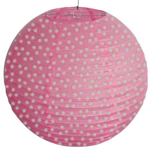 Abażur papierowy różowy w kropki kula 35cm Kokon Candellux 70-94028