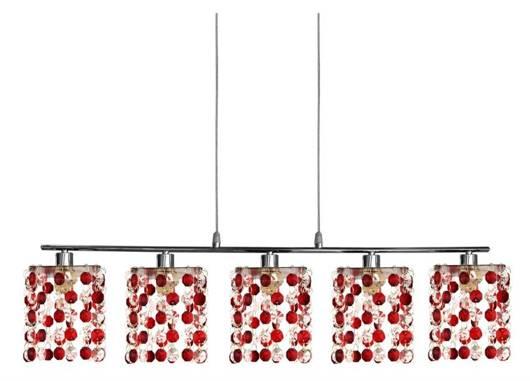LAMPA SUFITOWA CANDELLUX WYPRZEDAŻ 35-59300 CLASSIC ZWIS 5X40W G9 CZERWONY
