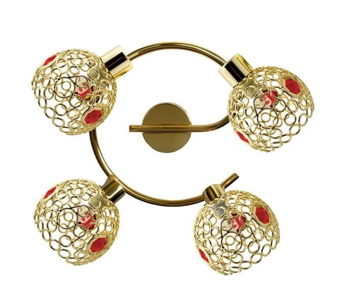 Lampa sufitowa spirala mosiądz + kryształki czerwone 4x40W Aron Candellux 98-12258