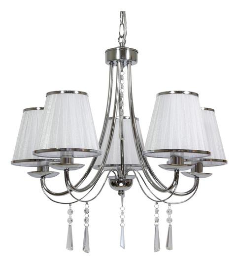 Lampa wisząca chrom biały abażur z organzy 5x40W Oscar Candellux 35-31020