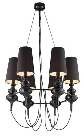 Lampa wisząca czarna regulowana żyrandol 6x40W Decoria Candellux 36-30576