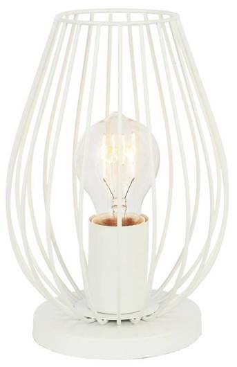 Lampka stołowa nocna biała w koszyczku metalowym 60W E27 Factoria Candellux 41-66725